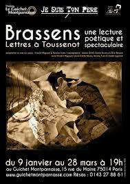 Théâtre : Brassens, lettres à Toussenot au Guichet Montparnasse - Culture et communication