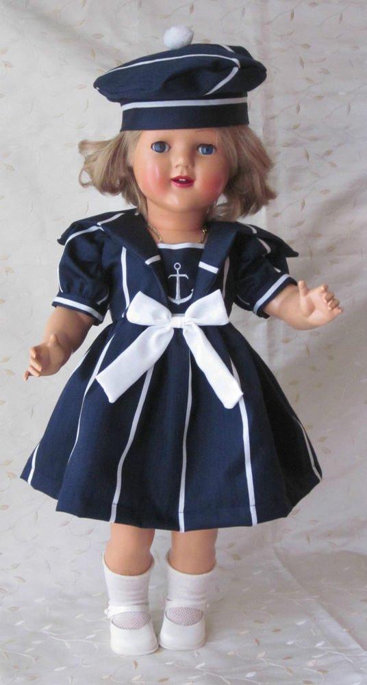 Magnifique robe marin pour poupée ancienne Raynal, Celluloid, Porcelaine, Bella