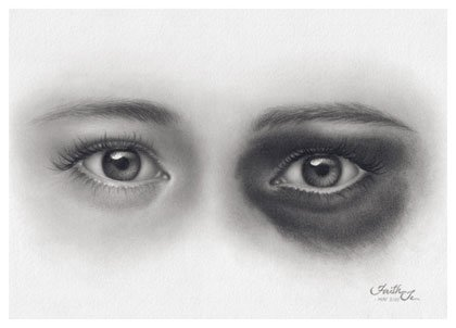 Drawing: All the Abused – Eyes Pencil Drawing