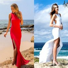 2016 Hot Sale Red And White Women's Bodycon Bandage Long Halter Dress Sexy Midi Evening Party Prom Club Dresses - RealShoppi.com