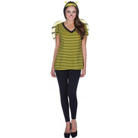 Déguisement T-Shirt abeille femme : T-Shirt rayé jaune noir