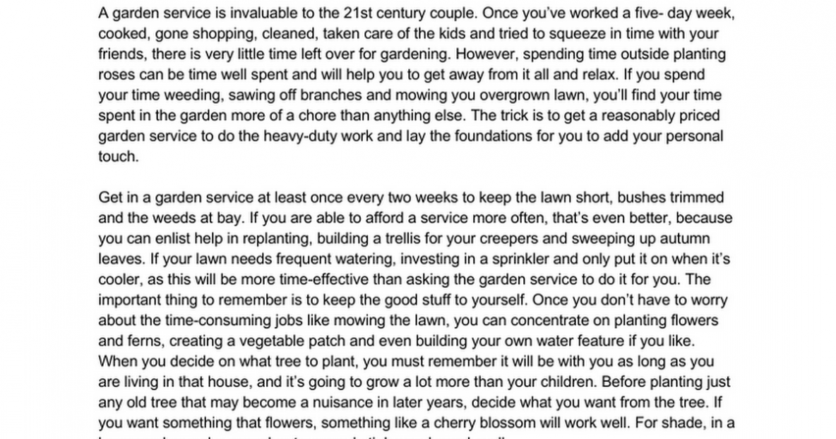 Making The Most of Your Garden Service