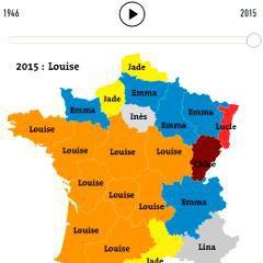 Cartes interactives des prénoms les plus populaires par régions de France (1946 à 2015, Le Monde)
