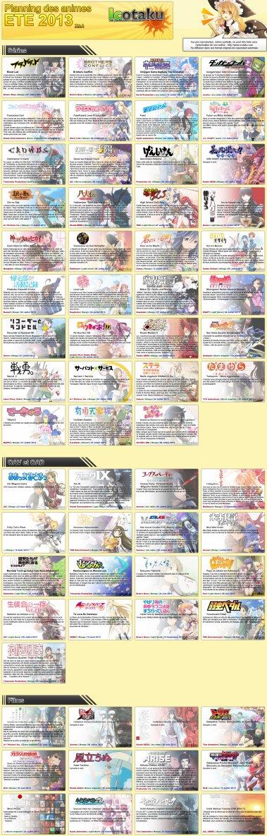 Les nouveaux anime d'été 2013