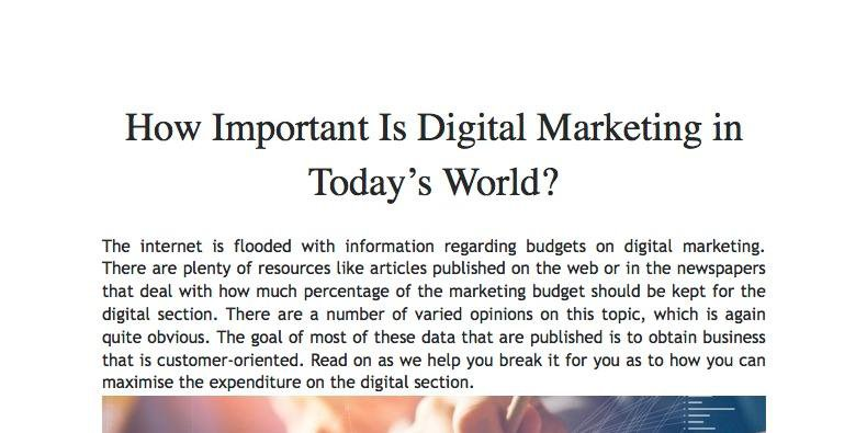 How Important Is Digital Marketing in Today's World?