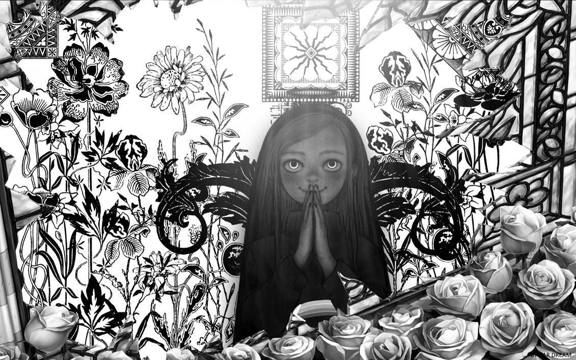 wallpaper little girl who prays black and wht ver