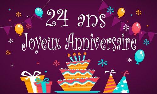 Carte anniversaire enfant 24 ans gateau