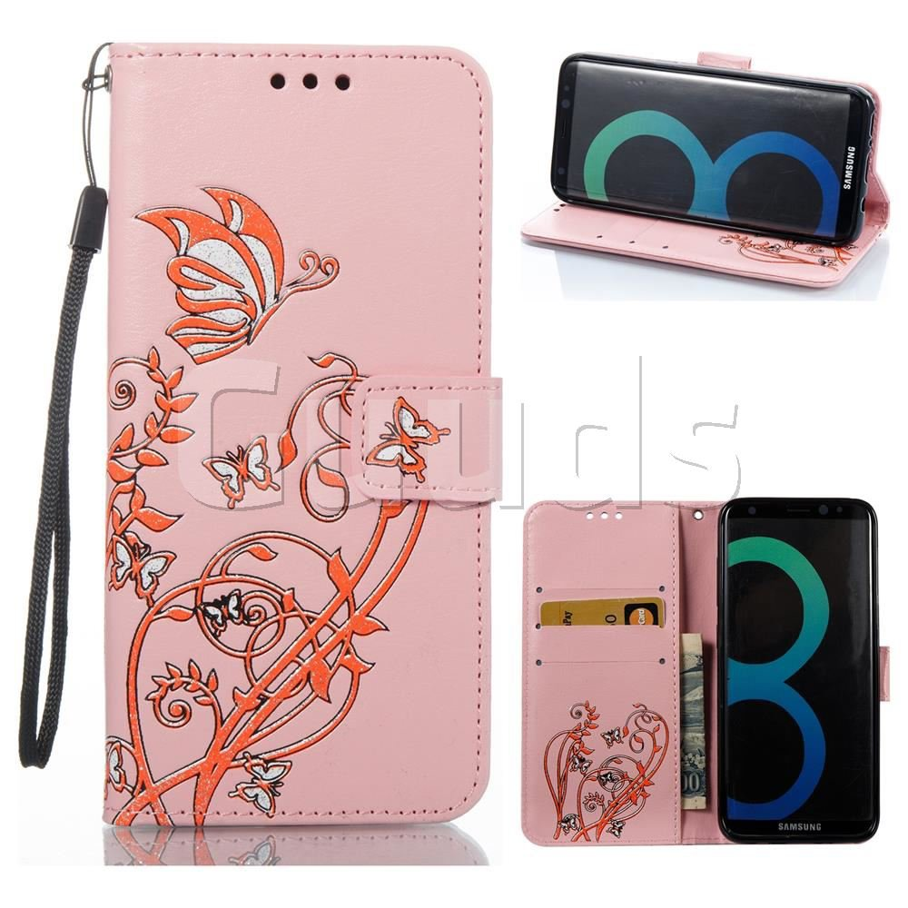 Embossing Narcissus Butterfly Leather Wallet Case for Samsung Galaxy S8 - Pink