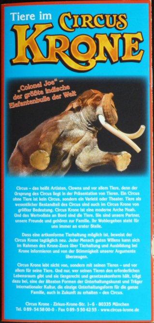 Brochure Tiere im Circus KRONE