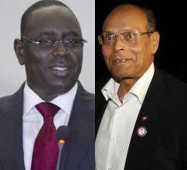 Macky Sall, président du Sénégal et Moncef Marzouki, président de la Tunisie