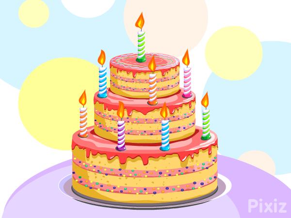 Carte virtuelle Gâteau d'anniversaire - Pixiz