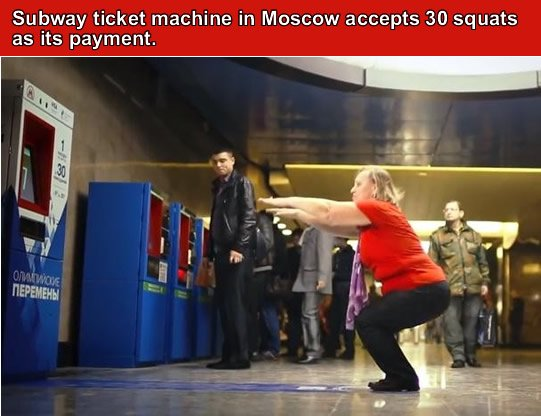 A fitness & ticket machine in Moscow's subway station.