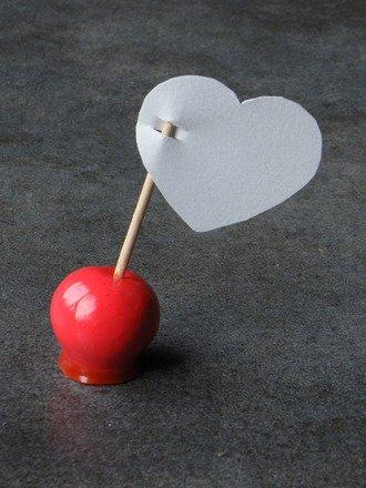 Marque place pomme d'amour en fimo : Cuisine et service de table par jl-bijoux-creation
