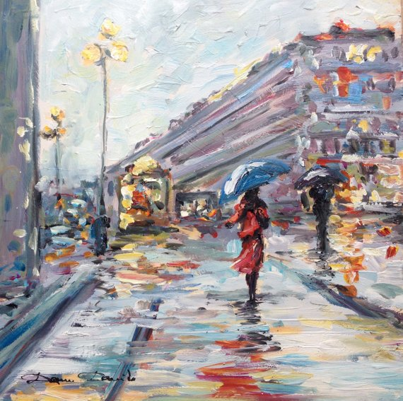 Peinture unique originale paysage de pluie Paris place de l'Opéra novembre Dam Domido peinture à l'huile tableau paysage