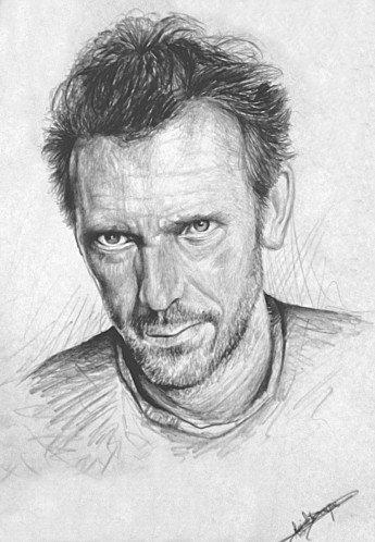 Portrait au crayon d'Hugh Laurie