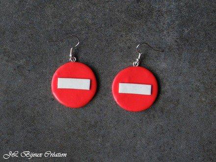 Boucle d'oreille sens interdit en fimo Argent 925 : Boucles d'oreille par jl-bijoux-creation
