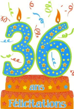 E09 09 13- Carte Anniversaire ?ge 36 ans avec Paillettes Scintillantes