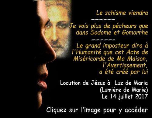 Luz de Maria : le grand imposteur dira que l'avertissement a été créé par lui.