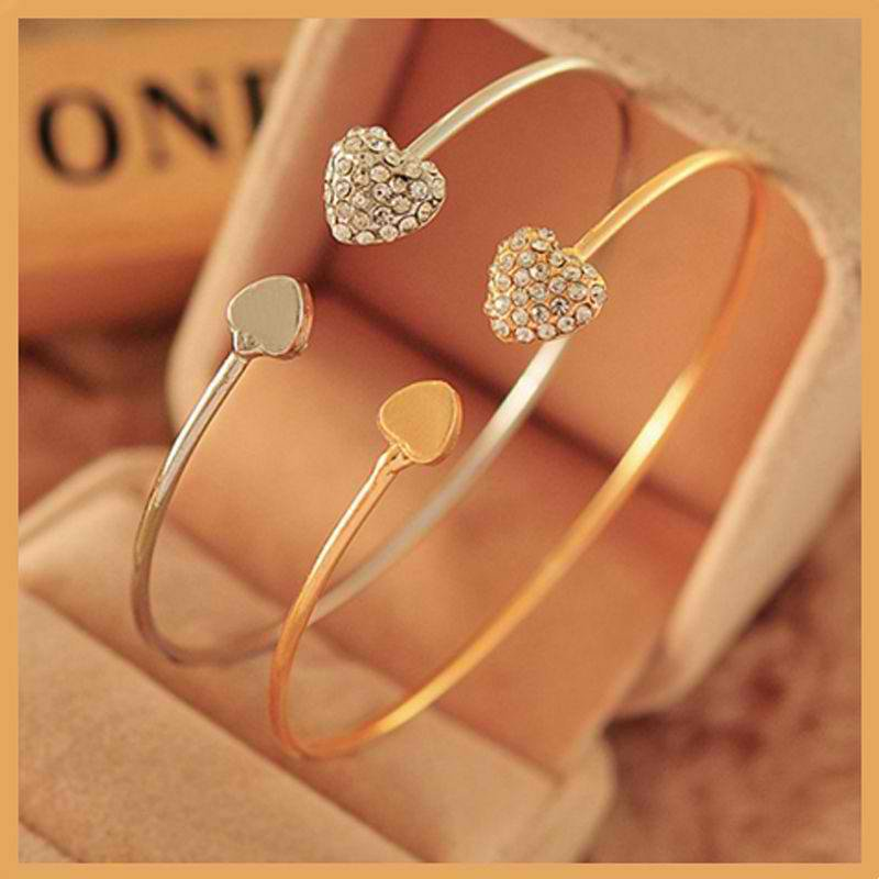 Women Fashion New Alloy Crystal Heart Gold&Silver Filled Women's Bangle Bracelet