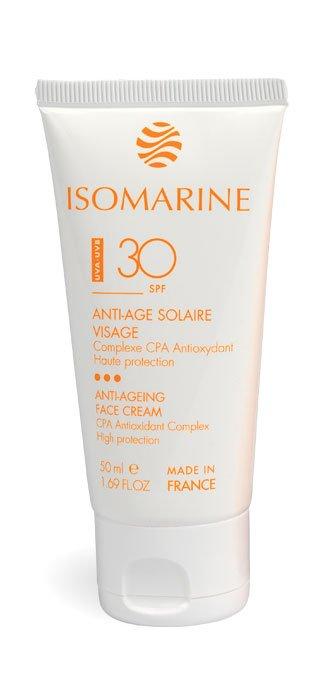 Isomarine, océan de beauté , cosmétique marine, visage et corps, algues, soins et produits gamme cosmétiques marins - ANTI-ÂGE SOLAIRE VISAGE HAUTE PROTECTION FPS 30