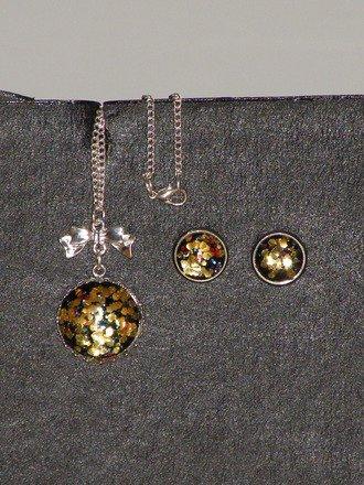 Parure 2 pièces Cabochons paillette or : Parure par jl-bijoux-creation
