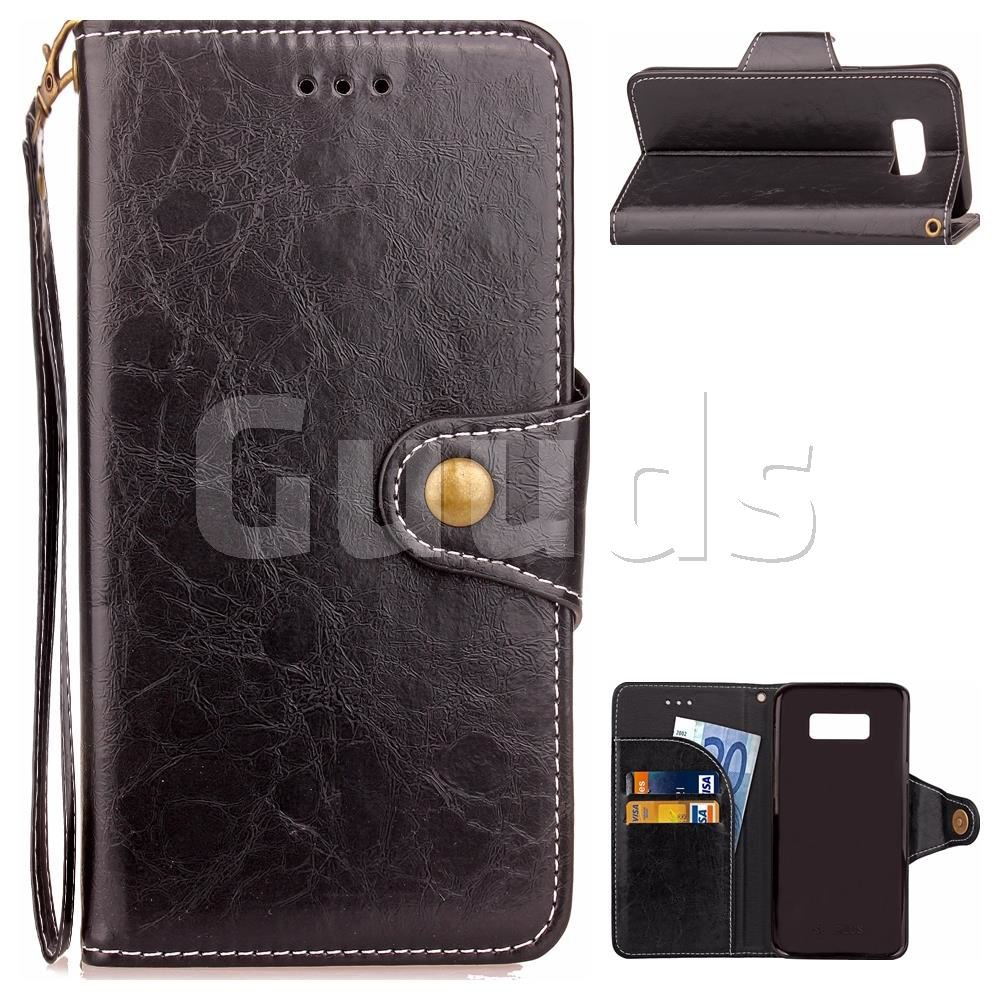 Retro Wax Oil Skin Leather Wallet Case for Samsung Galaxy S8 - Black