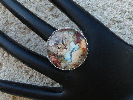 Bague réglable cabochon verre chat 3 : Bague par jl-bijoux-creation