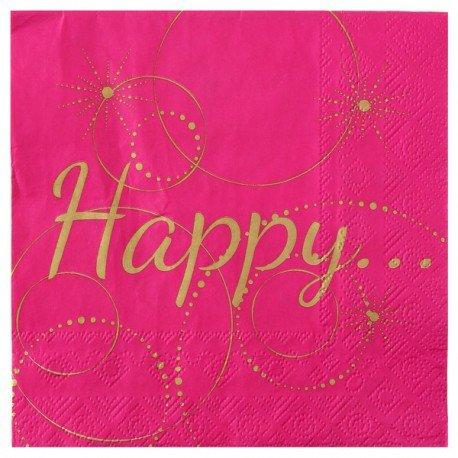 Serviette de table Happy Fuchsia papier les 20 : Serviette papier