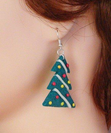 Boucle d'oreille Sapin de Noël en fimo Argent 925 : Boucles d'oreille par jl-bijoux-creation