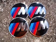 EMBLEME LOGO CENTRE ROUE ENJOLIVEUR ALUMINIUM AUTOCOLLANT BMW M-TECH MTECH 56.5