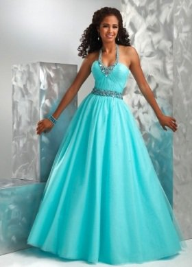 A-line V-neck Floor-length Sleeveless Tulle Prom Dress / Evening Dress