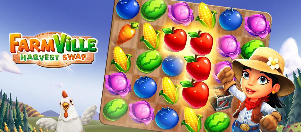 Zynga launched FarmVille: Harvest Swap and it's new match-3 game