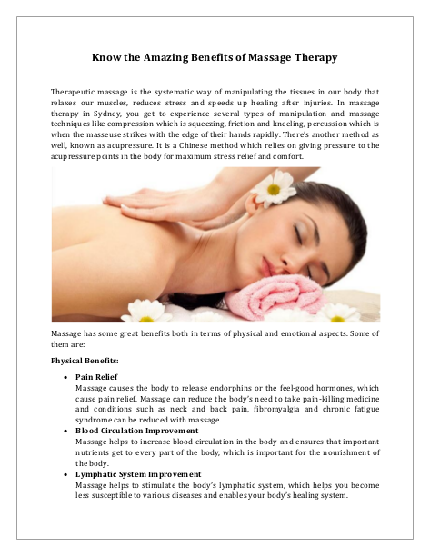 Know the Amazing Benefits of Massage Therapy