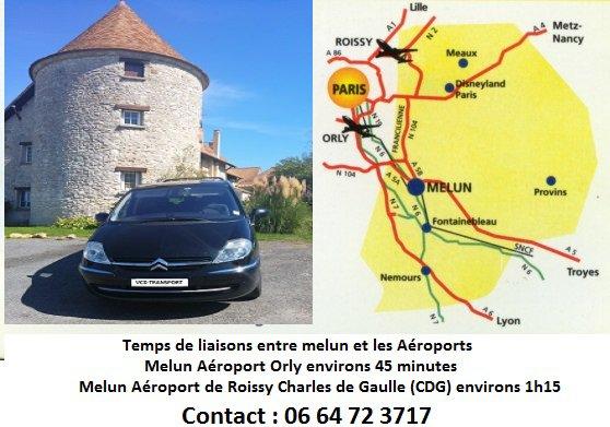 Transport Melun et c'est environs vers Orly, Roissy, Gares, etc...