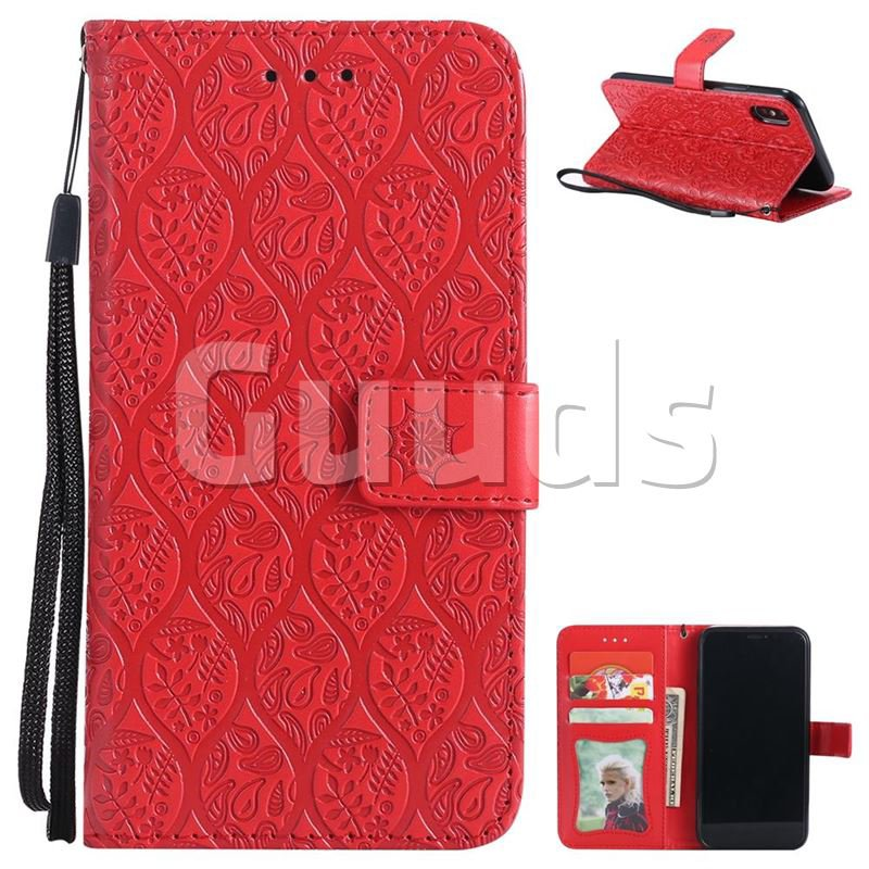 Intricate Embossing Rattan Flower Leather Wallet Case for iPhone X(5.8 inch) - Red - Leather Case - Guuds