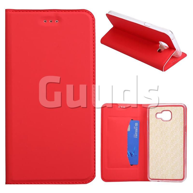Ultra Slim Automatic Suction Leather Wallet Case for Samsung Galaxy Xcover 4 G390F - Red - Leather Case - Guuds
