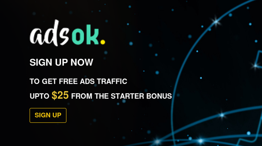 AdsOK - Bitcoin passive income investment by the best advertising network.