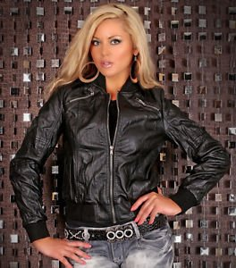 Blouson noir imitation cuir neuf Black leather imitation jacket new