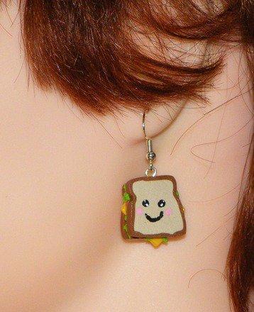 Boucle d'oreille sandwich kawaii en fimo Argent 925 : Boucles d'oreille par jl-bijoux-creation