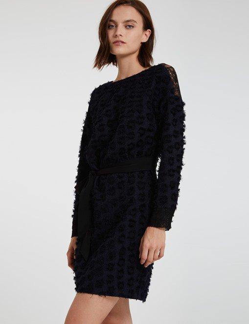 Robe en jacquard frangé et dentelle Morgan - Robe de Soirée Morgan - Bon-Shopping.com