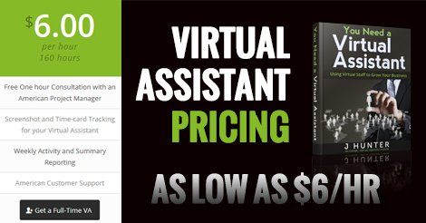 Virtual Assistant Pricing - As low as $6 dollars per hour