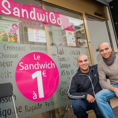 Bruxelles : Soufiane et Az-dine proposent les sandwiches à 1 ¤ ! Passez donc chez SandwiGo !