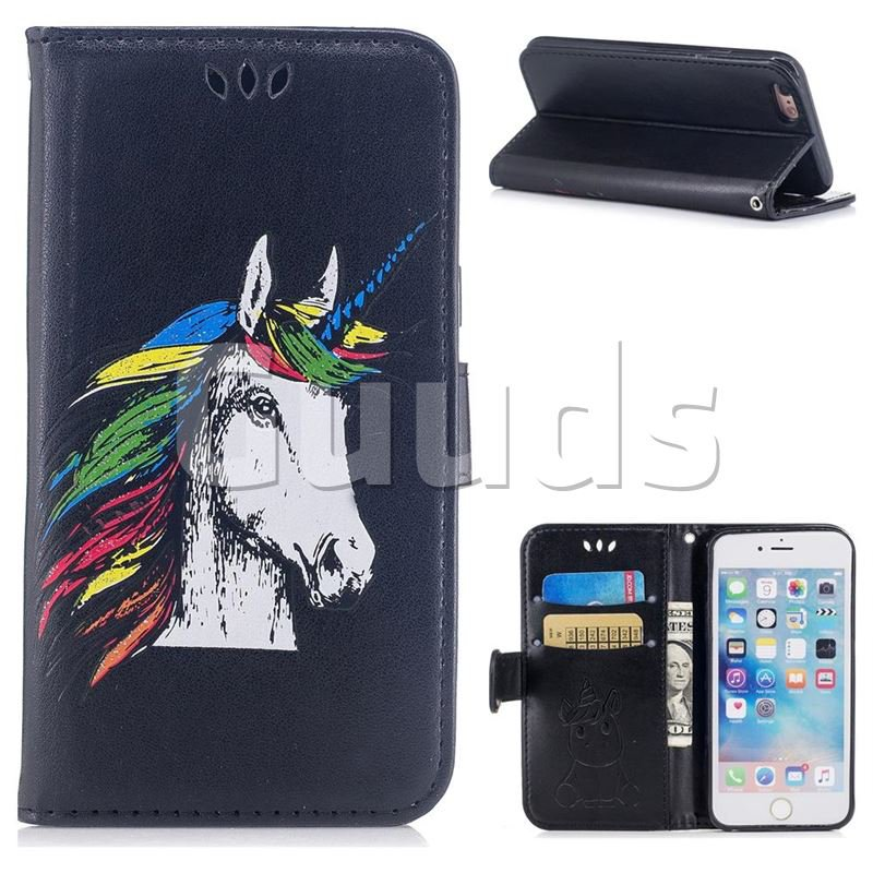 Watercolor Unicorn Leather Wallet Holster Case for iPhone 6s Plus / 6 Plus 6P(5.5 inch) - Black - Leather Case - Guuds