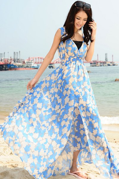 Bohemian Fruit Print Sleeveless Chiffon Dress - OASAP.com