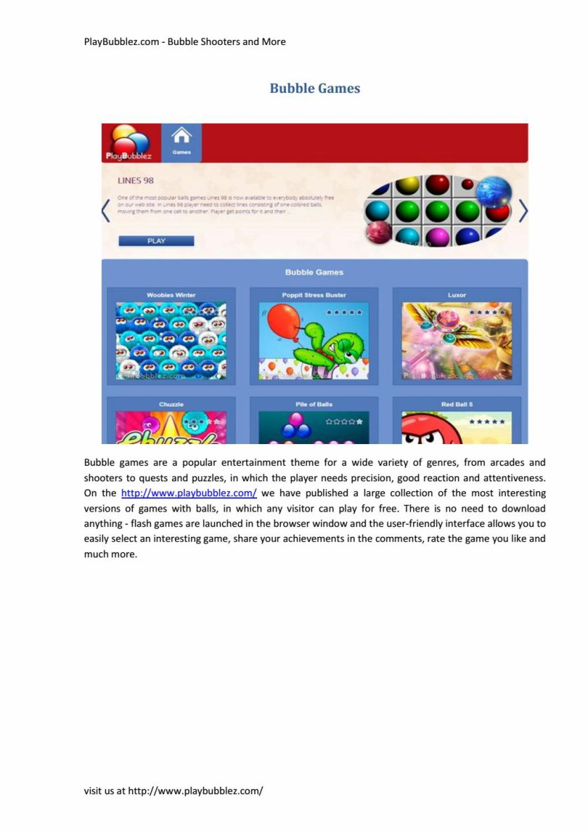 PlayBubblez.com - Bubble Shooters and More