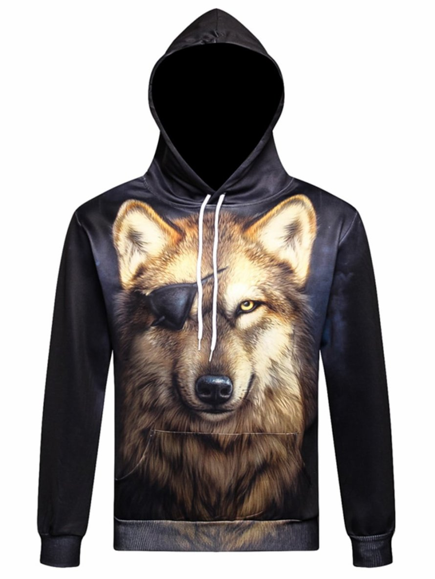 Drawstring 3D Wolf Print Pullover Hoodie
