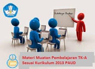 Materi Muatan Pembelajaran TK-A Sesuai Kurikulum 2013 PAUD | Pustaka Ilmu