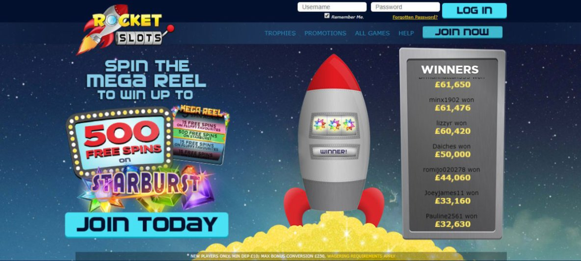 Rocket Slots | Win Up To 500 FREE SPINS on Starburst