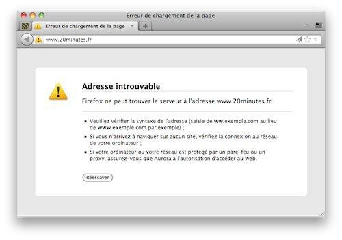 20 minutes : Nom de domaine non renouvelé, site indisponible – Waebo - Actualité web