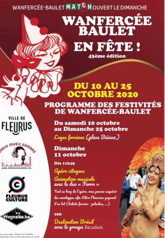 la foire Wanfercée-Baulet 2020 aura leui du 11 octobre a 25 otobre ...